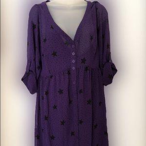 Torrid purple star chiffon roll sleeve shirt dress